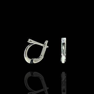 Срібні сережки з маленьким камінчиком, фото 2