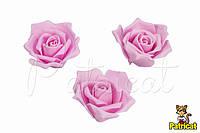 Роза нежно-розовая из иранского фоамирана, диаметр 4,5 см 10 шт/уп