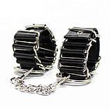 Кожаные наручники со стальными кольцами, фото 2
