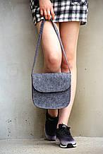 Жіноча сумка з фетру з довгою ручкою