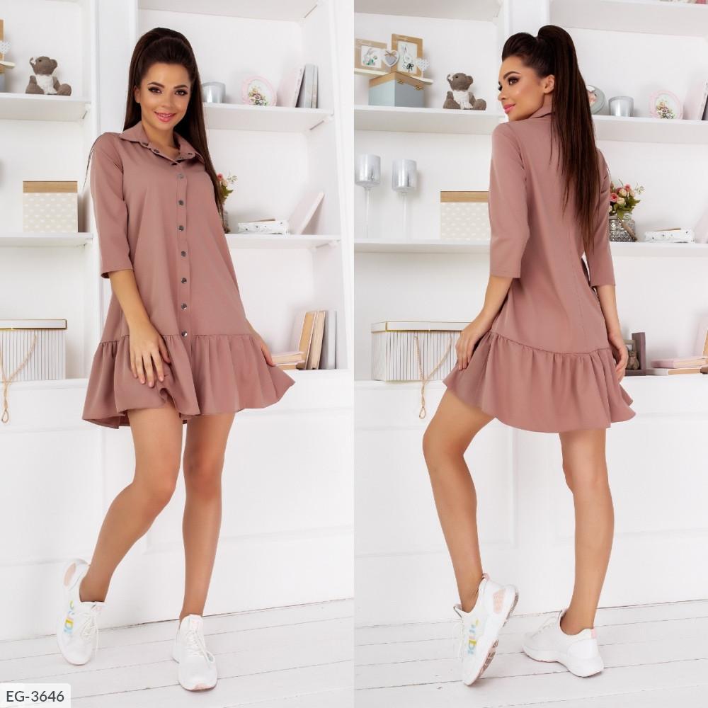 Платье на кнопках с рубашечным воротником свободного кроя, капучино, №270, 42-46р.