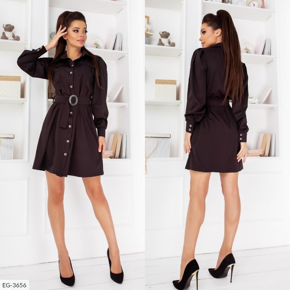 Платье-рубашка с поясом, №261, чёрный, 42-46р.