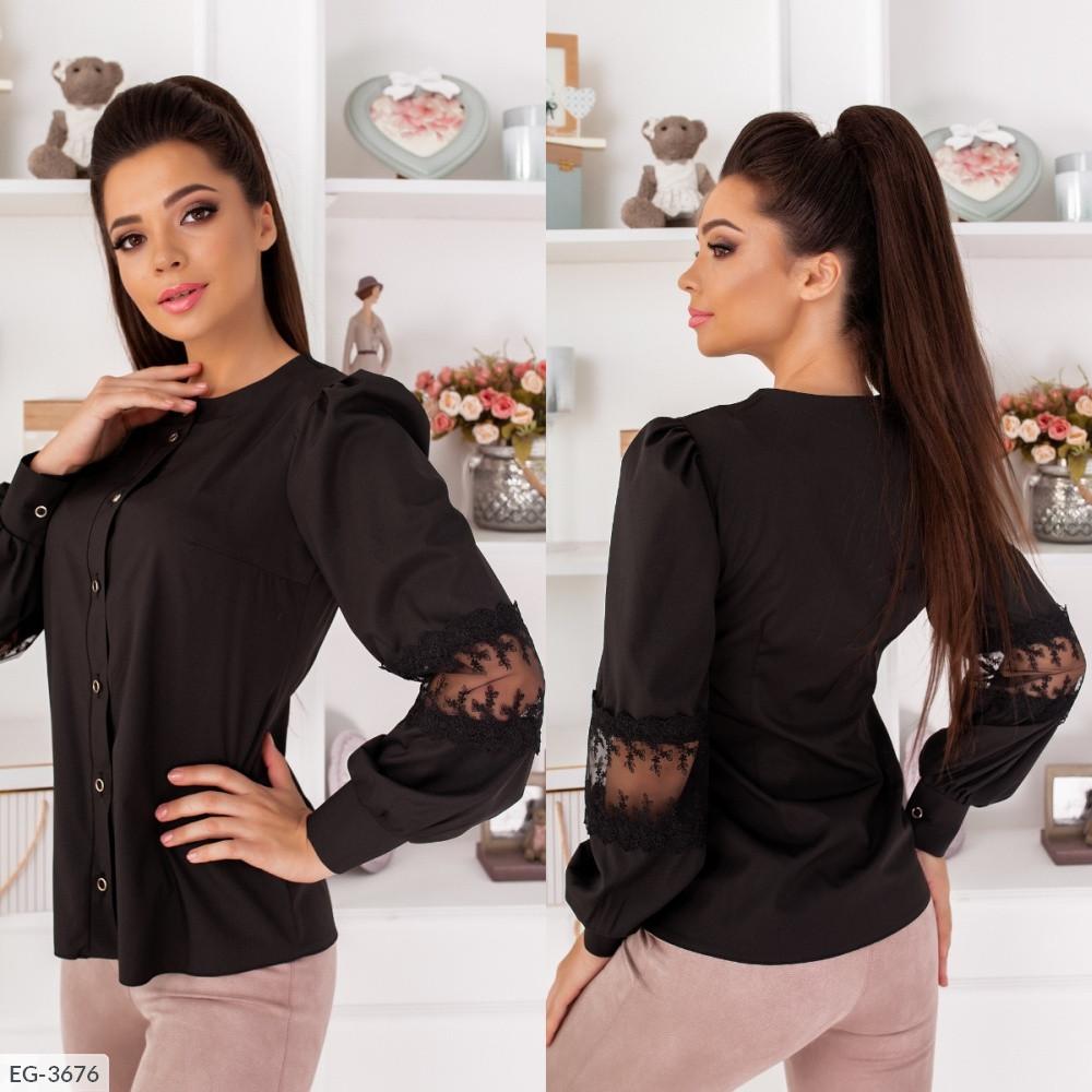 Блуза с кружевом, №258, чёрный, 42-46р.