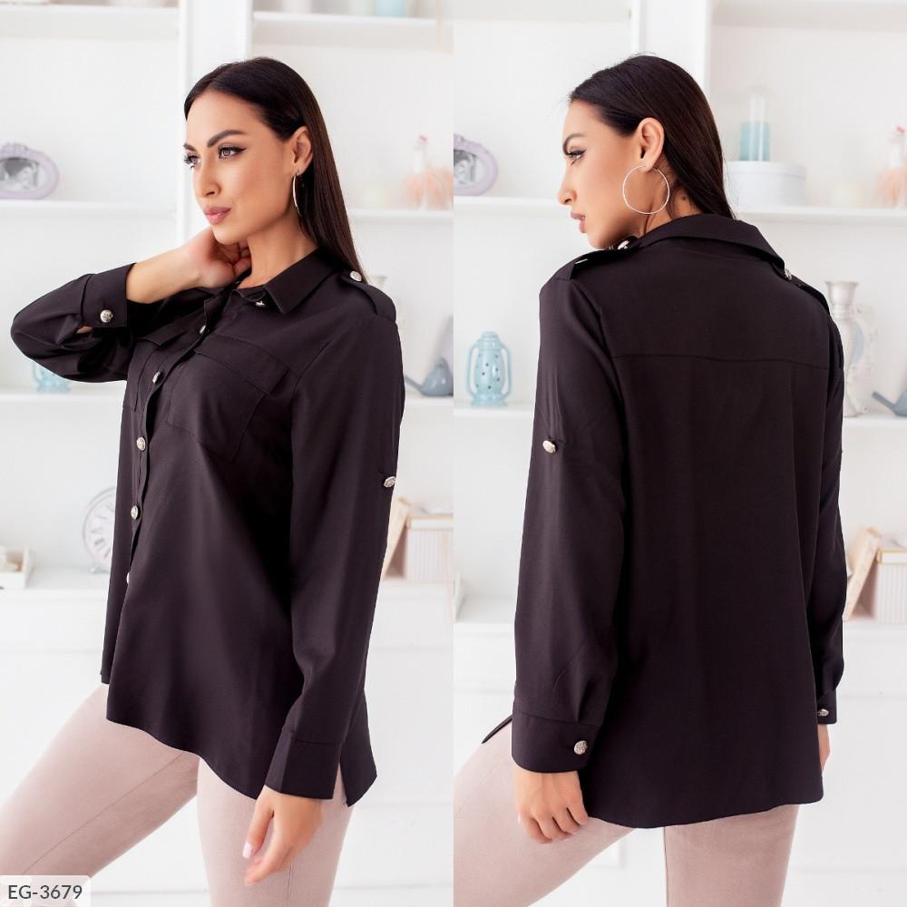Рубашка с накладными карманами, чёрный, №257, 48-58р.