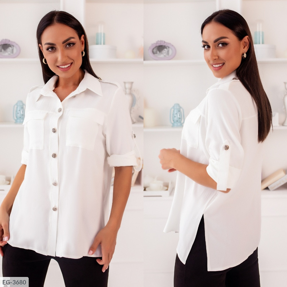 Рубашка с накладными карманами, молочный, №257, 48-58р.