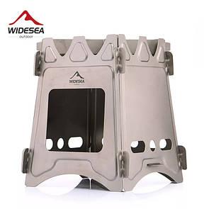 Титановая печь-щепочница Widesea Размер XL Туристическая печка Titanium. Большая.
