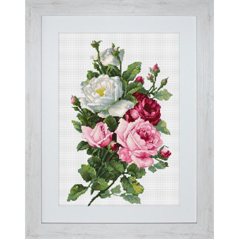 Набор для вышивания нитками Luca-S Цветы Букет из роз