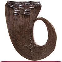 Натуральные европейские волосы на клипсах 40 см 120 грамм, Шоколад №04
