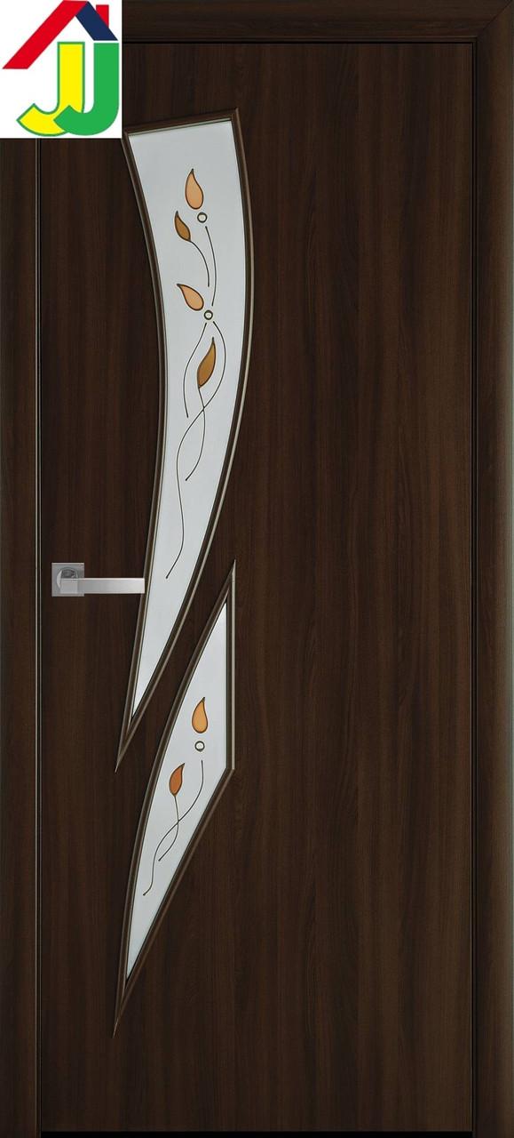 Двері міжкімнатні Новий стиль Камея Р1 Екошпон Модерн Горіх