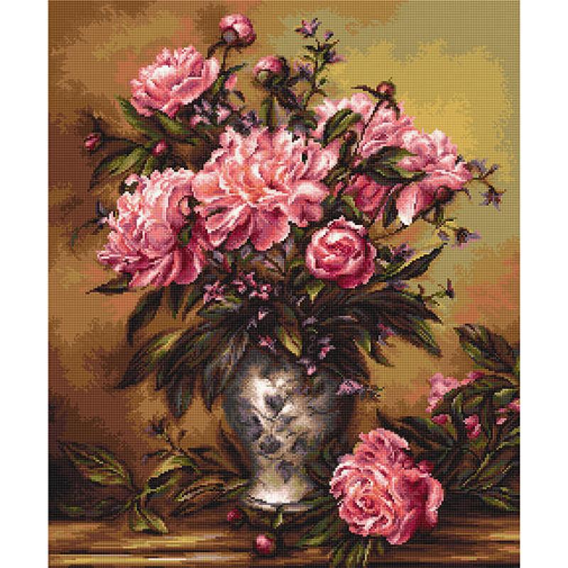 Набор для вышивания нитками Luca-S Цветы Ваза с пионами