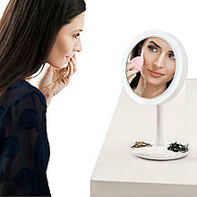 Кругле косметичне дзеркало з LED підсвіткою | Настільне дзеркало для макіяжу