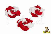 Цветы Розы Бело-красные из фоамирана (латекса) 3 см 10 шт/уп