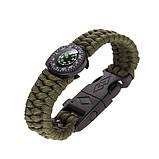Паракордовый браслет с компасом, огнивом и свистком, фото 2
