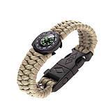 Паракордовый браслет с компасом, огнивом и свистком, фото 3