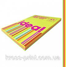 Набір кольорового паперу Neon Colour mix LUCENT 25х4 трудова книжка, А4 80 г/м 100л idea!