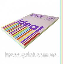 Набір кольорового паперу Pale Colour mix FRESH 25х4 трудова книжка, А4 80 г/м 100л idea!