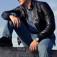 Мужская Куртка Armani чёрная гладкая эко-кожа