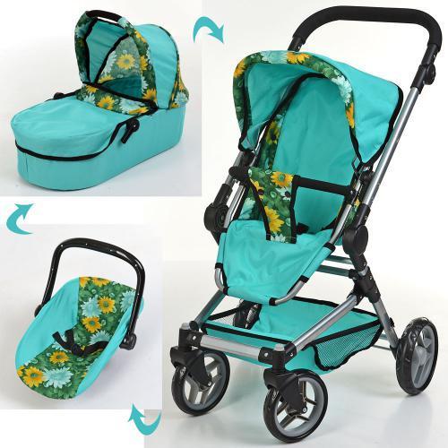 Детская коляска для куклы классика, люлька, поворот. колеса, 9636