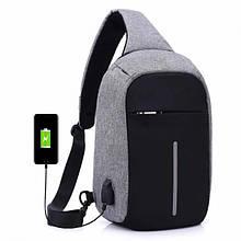 Рюкзак Bobby mini однолямочный через плечо с USB зарядным и портом для наушников / рюкзак Бобби