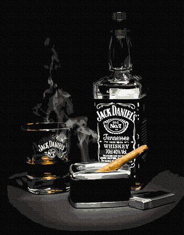 Картина по номерам 40х50см. Віскі з сигарою GX34238 Brushme, фото 2