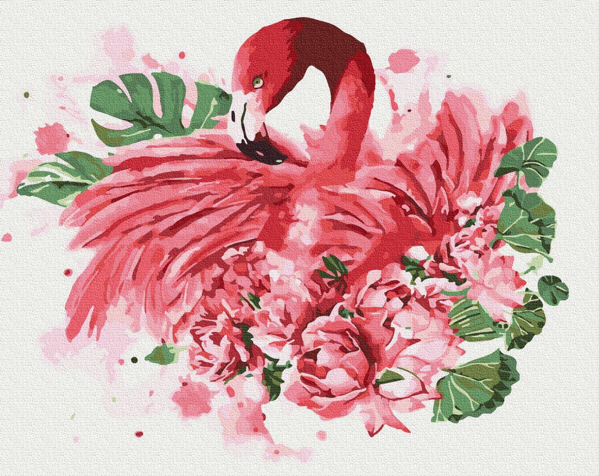 Картина за номерами 40х50см. Фламінго в квітах GX32248 Brushme