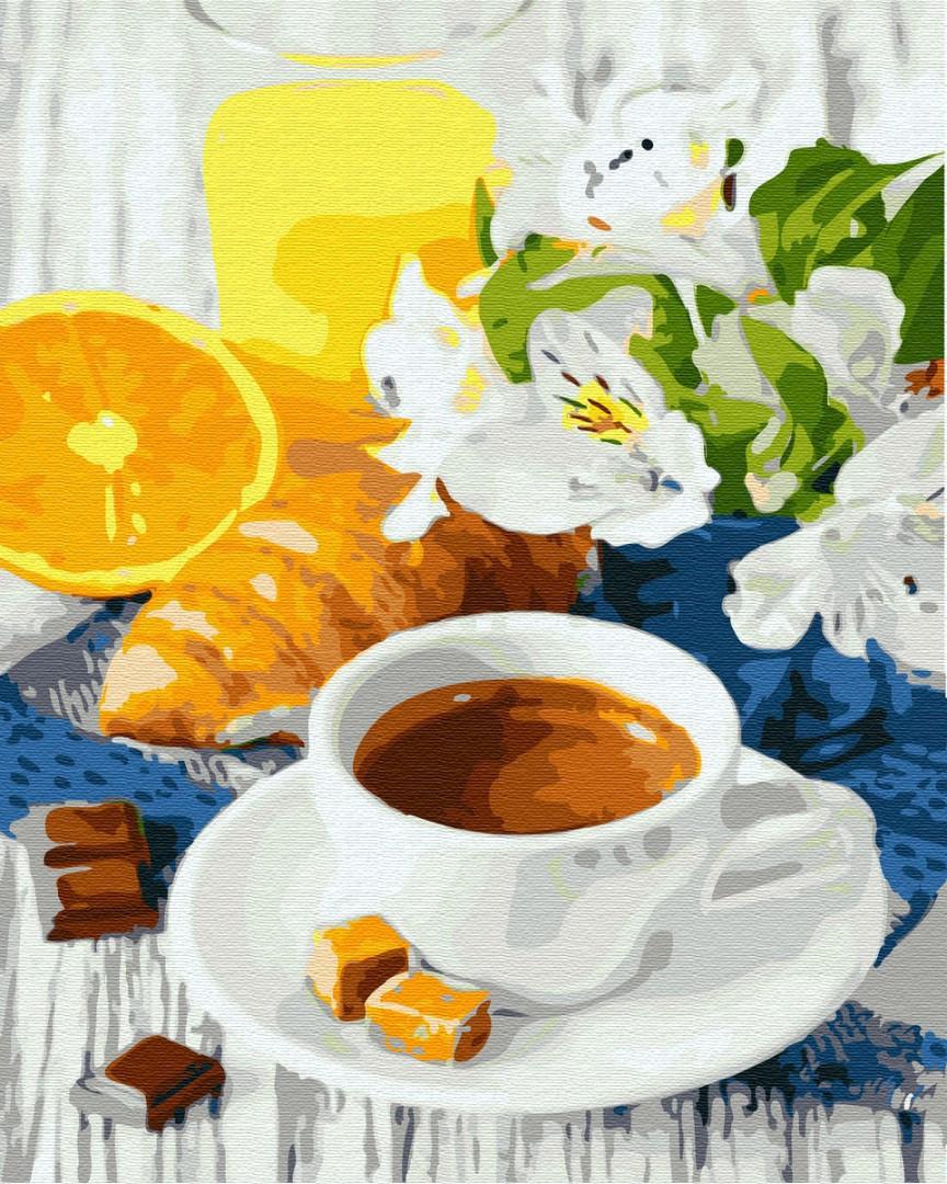 Картина по номерам 40х50см. Цитрусовый кофе GX31724 Brushme