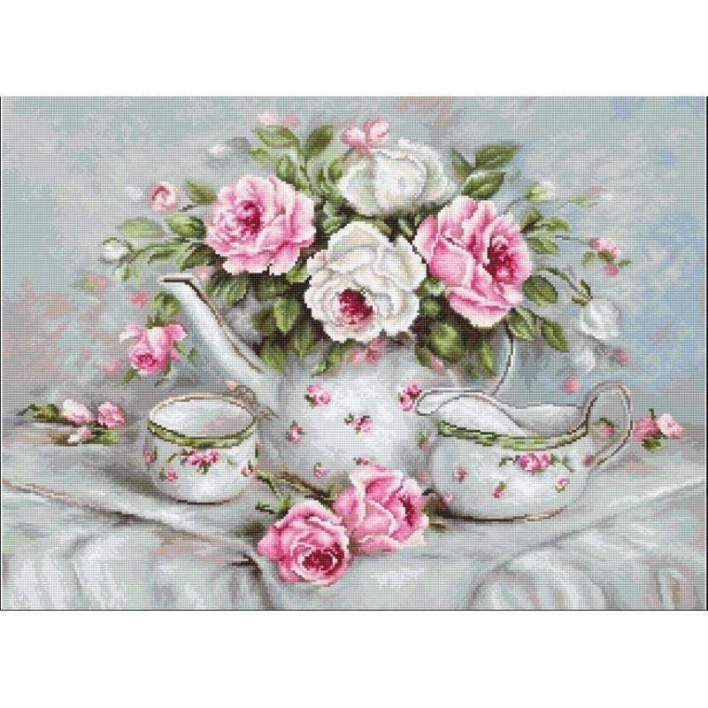 Набір для вишивання нитками Luca-S Квіти Чайний сервіз і троянди