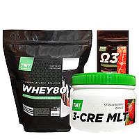 Масс-Протеин Комплект: 2 кг Whey Протеин Poland 80% шоколад + Креатин + Кардиопротектор в Подарок!