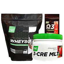 Масс-Протеин Комплект: 2 кг Whey Протеин Poland80% шоколад + Креатин + Кардиопротектор  в Подарок!