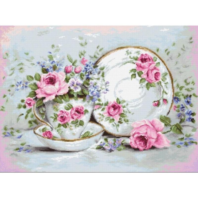 Набор для вышивания нитками Luca-S Цветы Трио и цветы