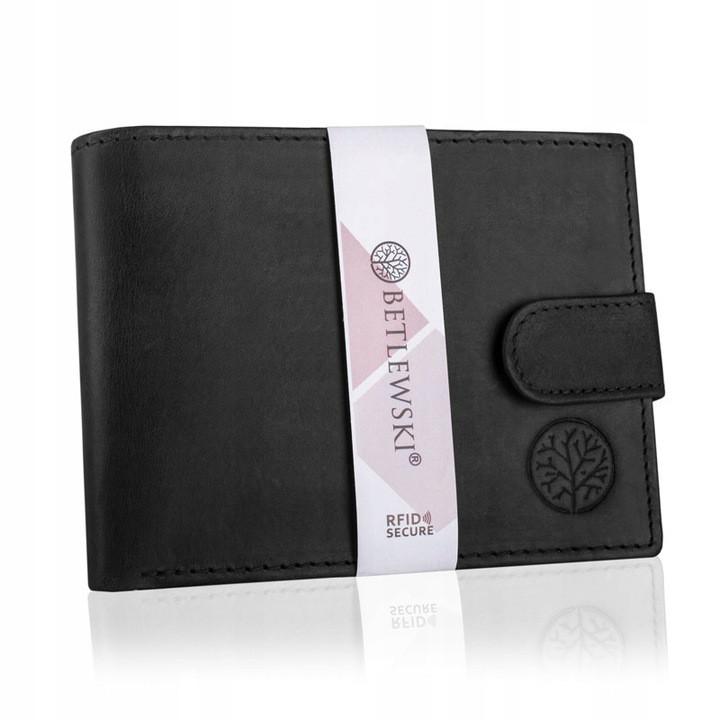 Чоловічий шкіряний гаманець Betlewski з RFID 9,5 х 12,5 х 2,5 (BPM-HT-60) - чорний
