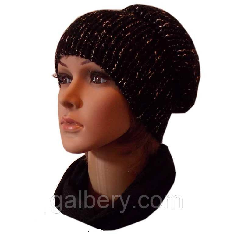 Женская вязаная шапка-носок, цвета черный меланж объемной крупной вязки