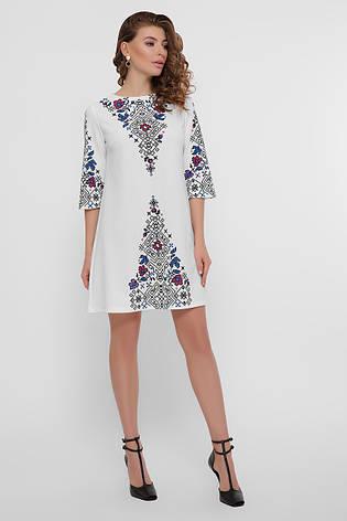 Короткое белое свободное платье с орнаментом в украинском стиле Тая-1 3/4, фото 2