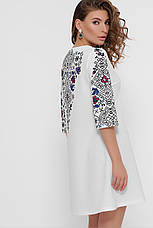 Короткое белое свободное платье с орнаментом в украинском стиле Тая-1 3/4, фото 3