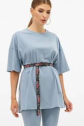 Синя подовжена жіноча футболка з поясом Хізер