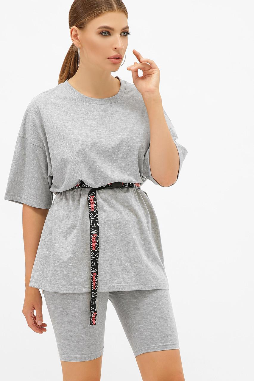 Довга сіра жіноча футболка оверсайз з поясом Хізер