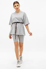 Довга сіра жіноча футболка оверсайз з поясом Хізер, фото 3