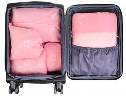 Косметичка дорожная с розовыми тканевыми сумками