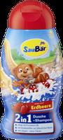 Детский шампунь с ароматом клубники Saubar 2 in 1 Dusche + Shampoo Erdbeere  250 мл