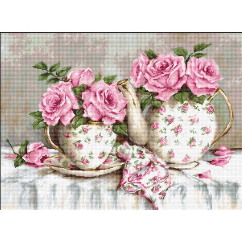 Набір для вишивання нитками Luca-S Квіти Ранковий чай і троянди