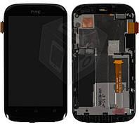 Дисплейный модуль (дисплей + сенсор) для HTC Desire X T328e, с передней панелью, черный, оригинал