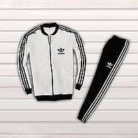 Спортивный костюм Adidas белый с черным. Адидас