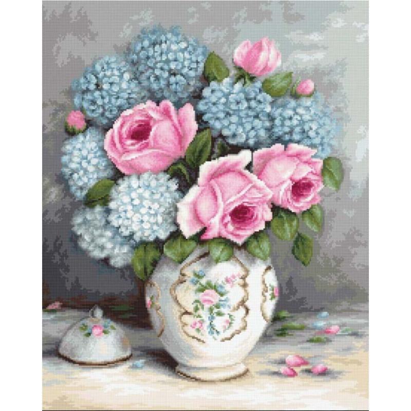 Набор для вышивания нитками Luca-S Цветы Розы и гортензии