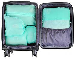 Косметичка дорожная с мятными тканевыми сумками