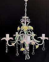 Класична підвісна люстра на 5 лампочок кований букет, фото 1