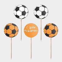 Праздничные топперы Футбол 5 штук С днем рождения