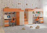 """Кровать-чердак для двоих детей с рабочей зоной """"Легенда 4.5 """"Детская кровать чердак со шкафом,2 спальных места"""