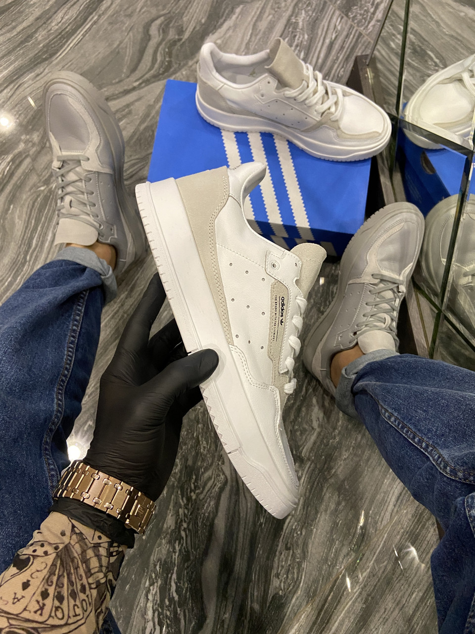 Adidas Brand With The 3 Stripes Grey White(Белый)