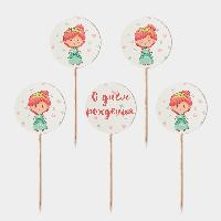 Праздничные топперы Принцесса 5 штук С днем рождения
