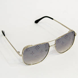 Сонцезахисні окуляри жіночі Луї Вітон (Louis Vuitton) квадратної форми (арт. 2641) срібний